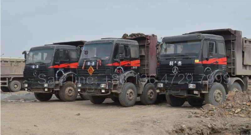 Beiben 12 wheeler dump truck 3138 type working for china railway project in ANGOLA